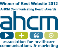 Logo for Winner of Best Website 2012 at the AHCM communicating health awards